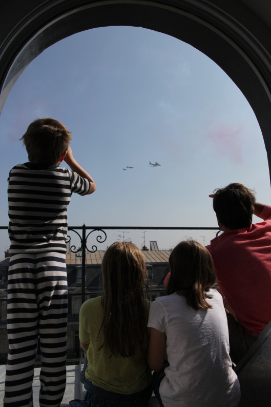 Watching the arial jet parade out of our kitchen window.