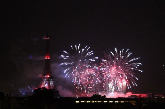 Fete National (Bastille Day) fireworks from our roof top.